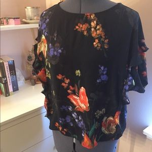 Sheer Floral Flounce Top from Express